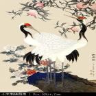 仙鹤寿桃绣花图案