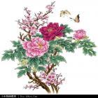 梅花牡丹蝴蝶刺绣图